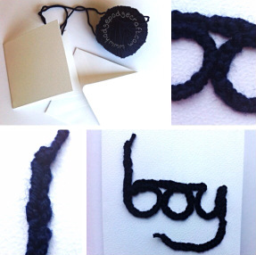 finger knitted card