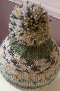 Decreases on pompom hat