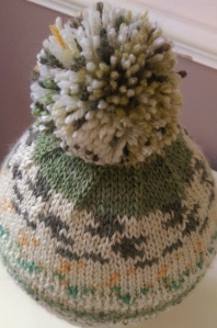 Decreases on pompom hat