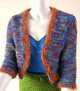 Eyelash edging on a simple jacket at www.knittingonthe net.com